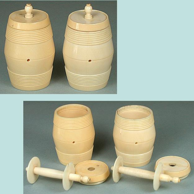 2 Antique Carved Ivory Workbox Thread Barrels * Circa 1820