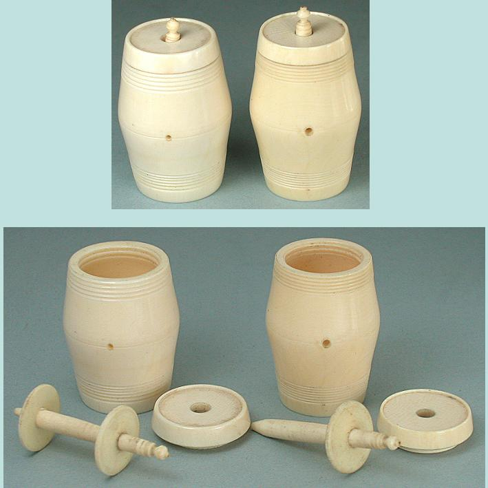 2 Antique Carved Ivory Workbox Thread Barrels * Circa1820