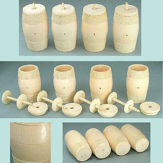 Set of 4 Antique Carved Ivory Thread Barrels * Circa 1820
