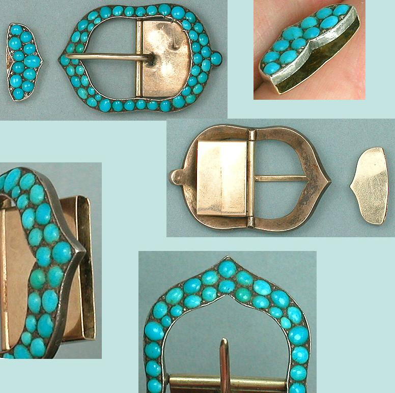 Antique 15 Ct Gold & Turquoises Buckle * C1880