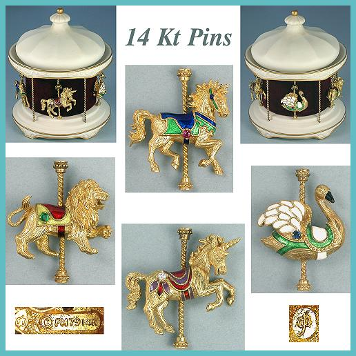 Faberge Carousel w/ 14 Kt Jeweled Animal Pins * 1979
