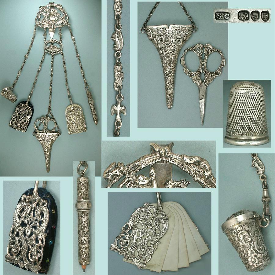 Antique English Sterling Silver Chatelaine w/ Tools * Hlmk 1892