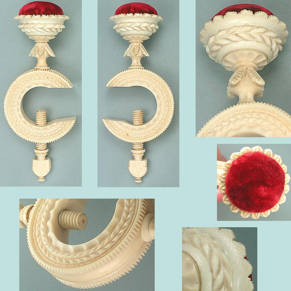 Antique Carved Ivory C Style Pincushion Clamp * C1820