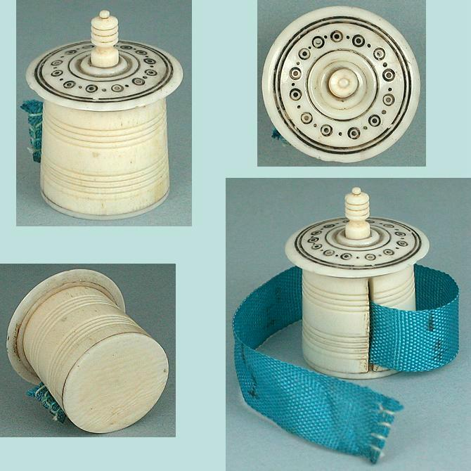 Antique Carved Ivory Madras Work Tape Measure * C1820