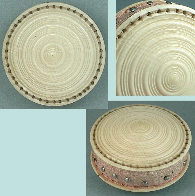 Antique Carved Ivory Pin Cushion / Disc * C1820
