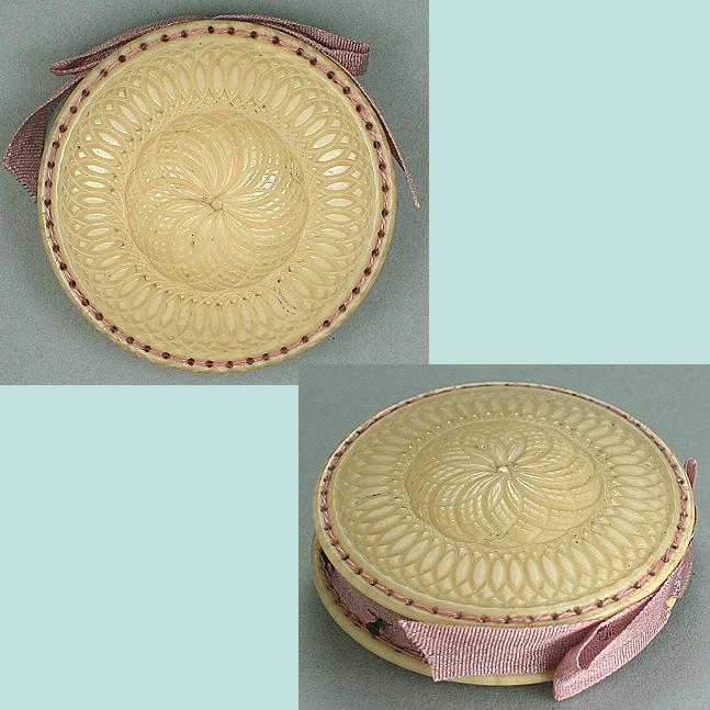 Antique Carved Ivory Pin Cushion / Disc * C1840