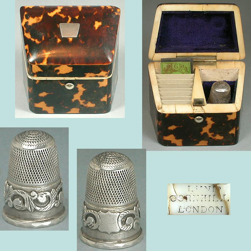 Antique Tortoise Shell Needle Packet & Thimble Box * C1850