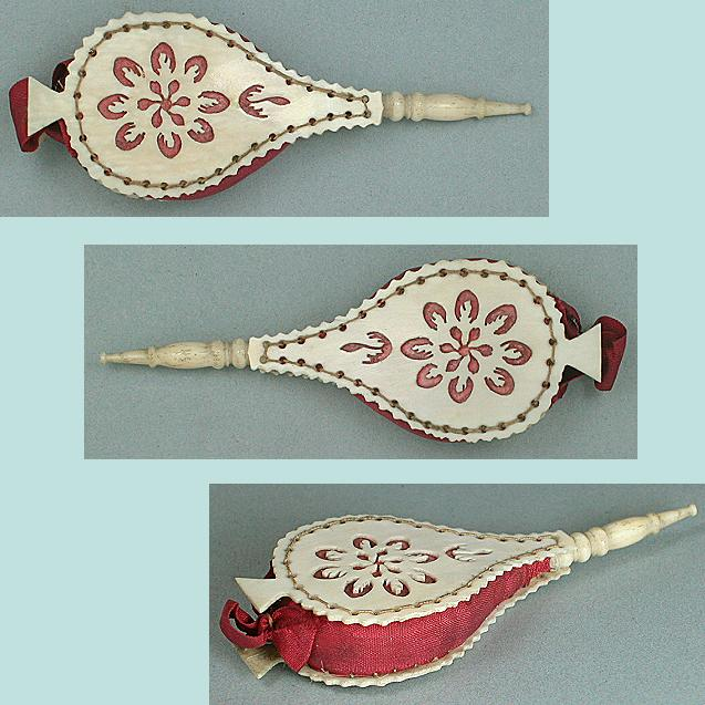 Antique Figural Ivory Fretwork Bellows Pin Cushion * C1820