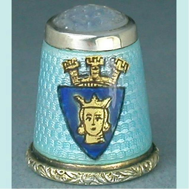 Antique Stone Top Enameled Sterling Silver Thimble * Circa 1900s