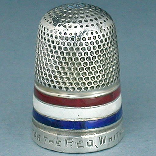 Antique Enameled Sterling Silver 'A Stitch For The Red White & B
