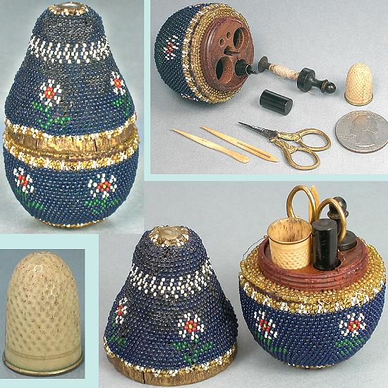 Antique Beaded Pear Child's Etui / Sewing Set * C1860