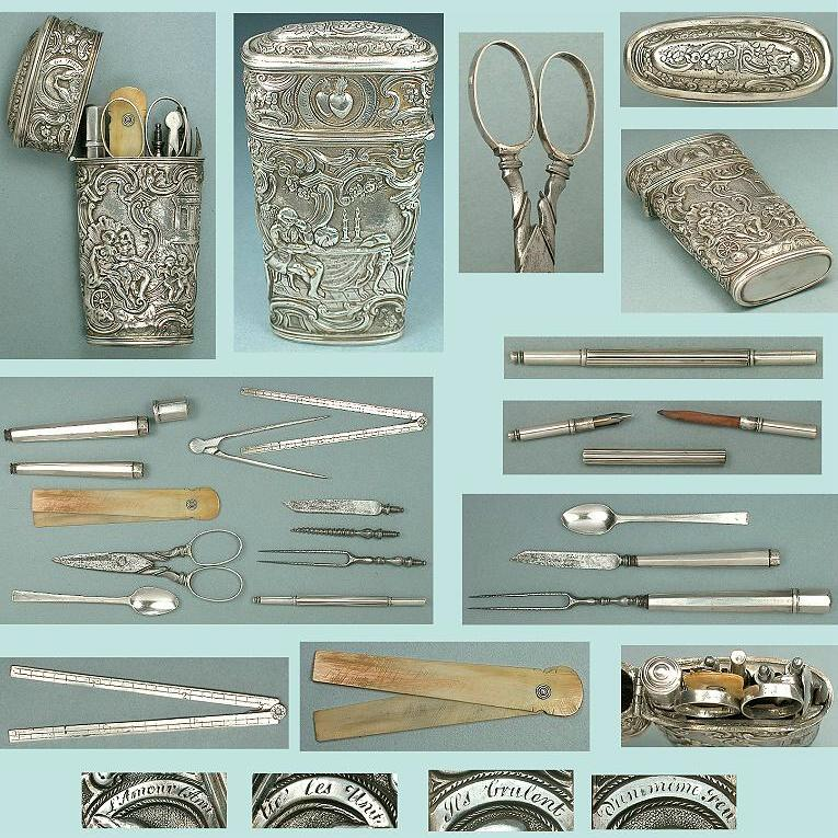 Antique Sterling Silver Etui w/ Scissors & Tools * C1760