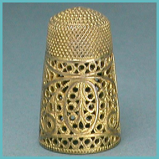 Rare Antique Pinchbeck Filigree Thimble * Circa 1800
