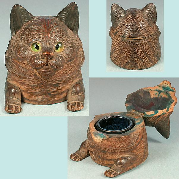 Antique Figural Black Forest Kitty Cat Inkwell * Circa 1890