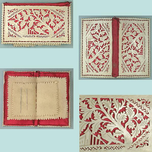 Antique Pierced Ivory Fretwork Needle Book * Circa 1820