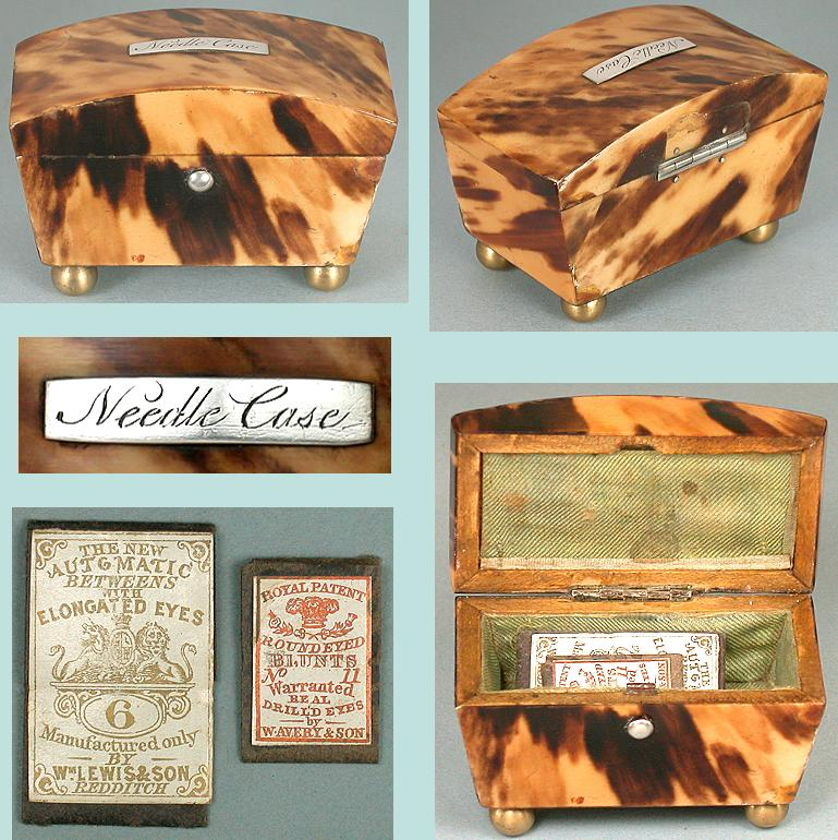 Antique Tortoise Shell Needle Packet Box * Circa 1850