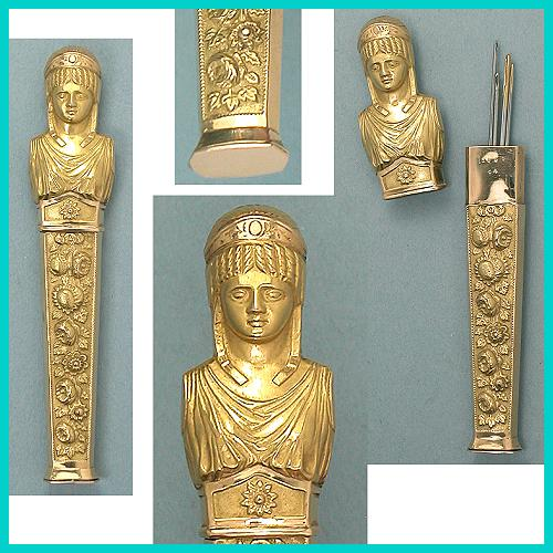 Figural Roman Lady Solid Gold Antique Needlecase * C 1830-40