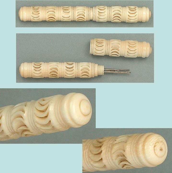Antique Carved Crescents Ivory Needle Case * Circa 1830