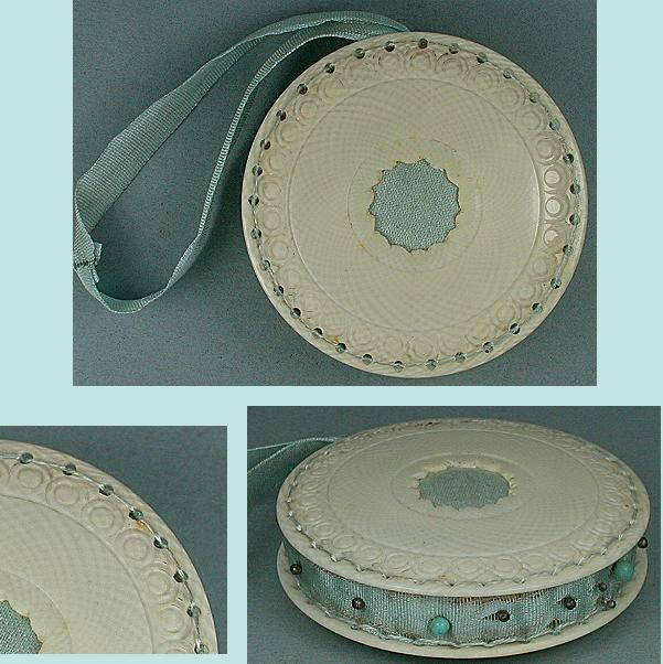 ★Antique Carved Ivory Pin Cushion / Disc  * C1820