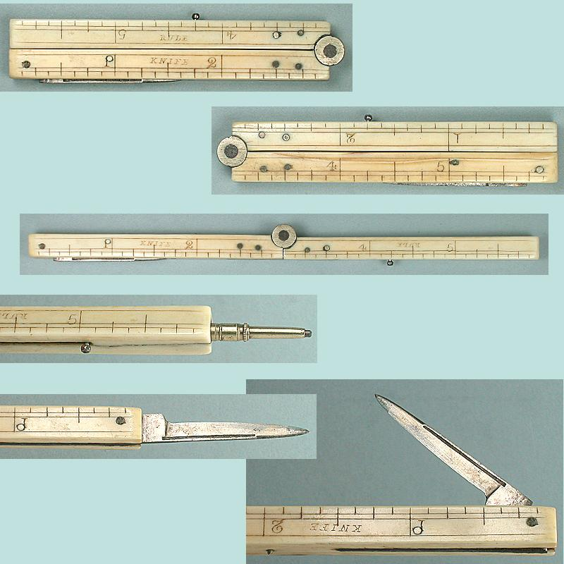 "Antique Folding 6"" Ivory Ruler, Penknife & Pencil * Circa 1870"