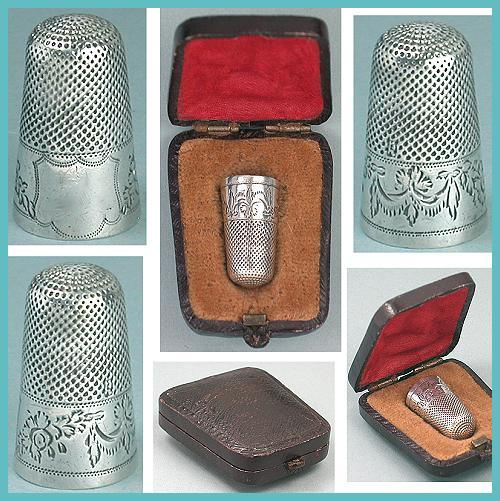 Tall Regency Antique Sterling Child's Thimble in Case * C1820