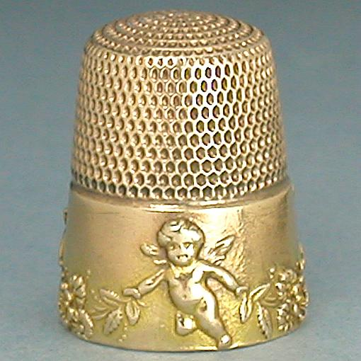 Antique 14 Kt Gold Cupid & Garlands Thimble * C 1900s