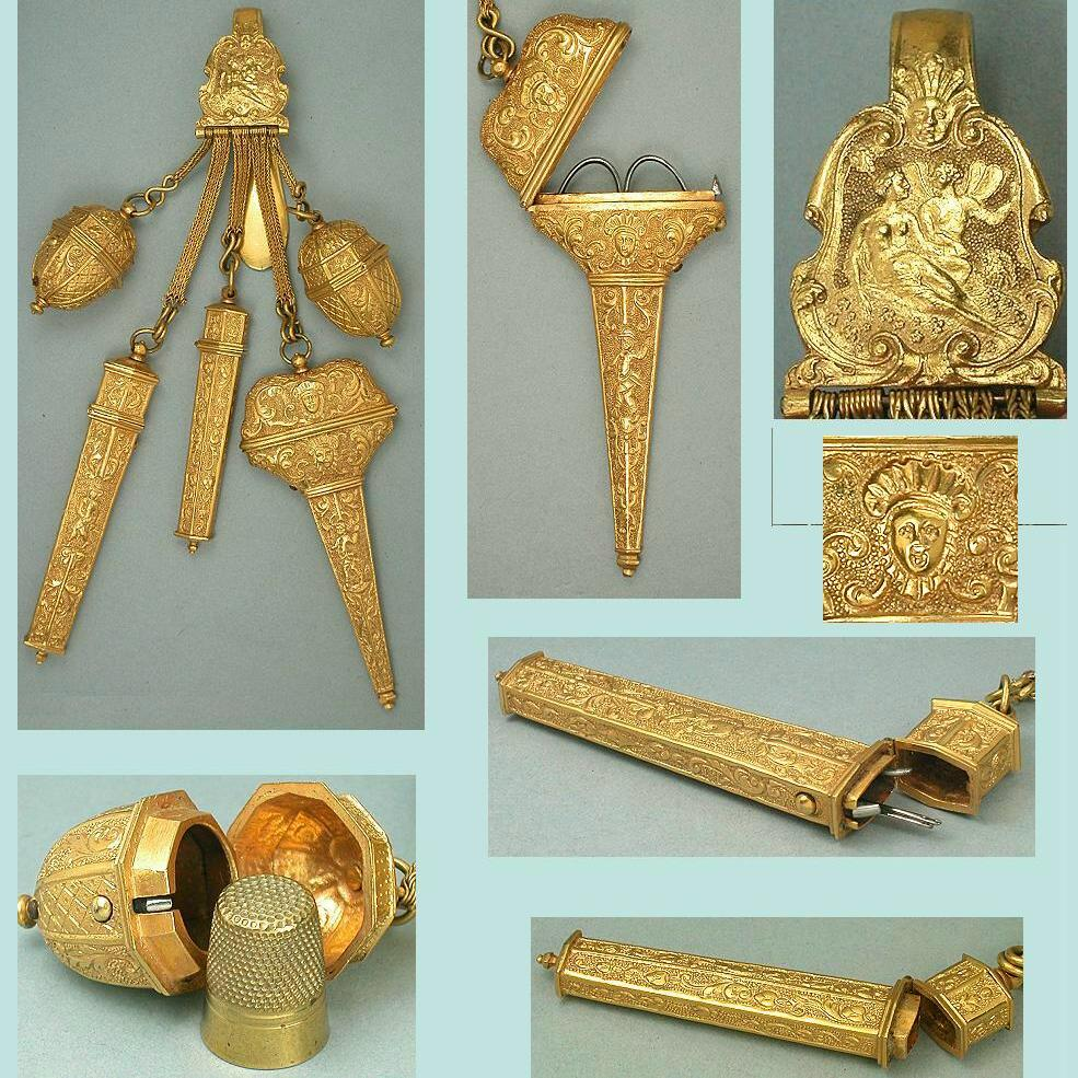 Exceptional Antique Pinchbeck Sewing Chatelaine w/ 5 Tools * C17
