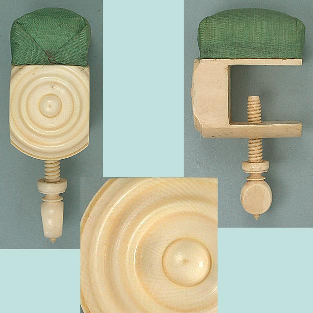 Antique Carved Ivory Pin Cushion Clamp * Circa 1830