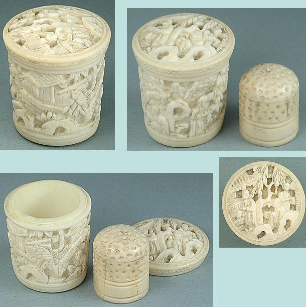 Antique Carved Canton Ivory Thimble Case & Thimble * C1820