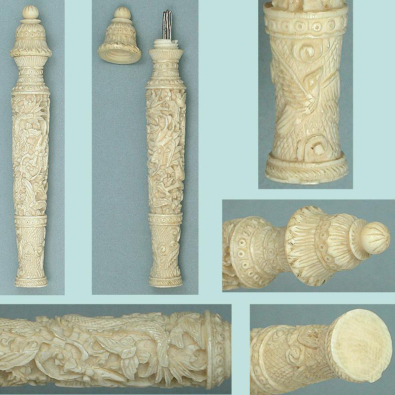 Unusual Antique Carved Ivory Canton Needle Case  * C1820