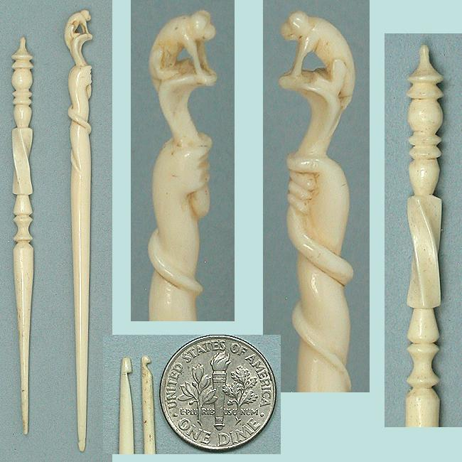 2 Antique Carved Ivory Crochet Hooks * C1870