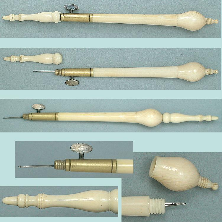 Classic Antique Carved Ivory Tambour Crochet Hook * C1820