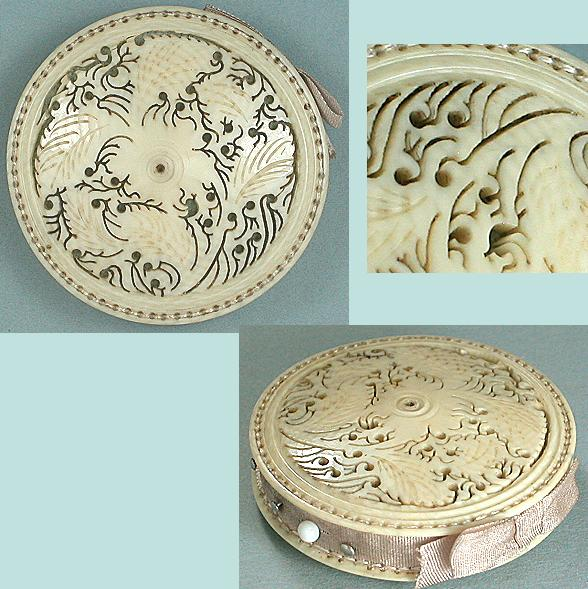 Antique Fretwork Carved Ivory Pin Cushion / Disc * English * C18