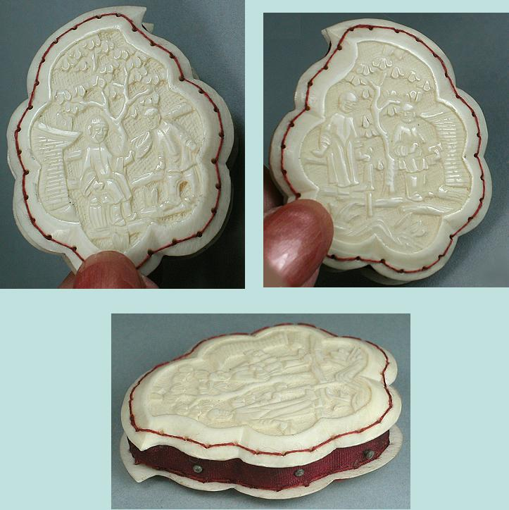 Antique Carved Ivory Canton Pin Cushion / Disc * C1830