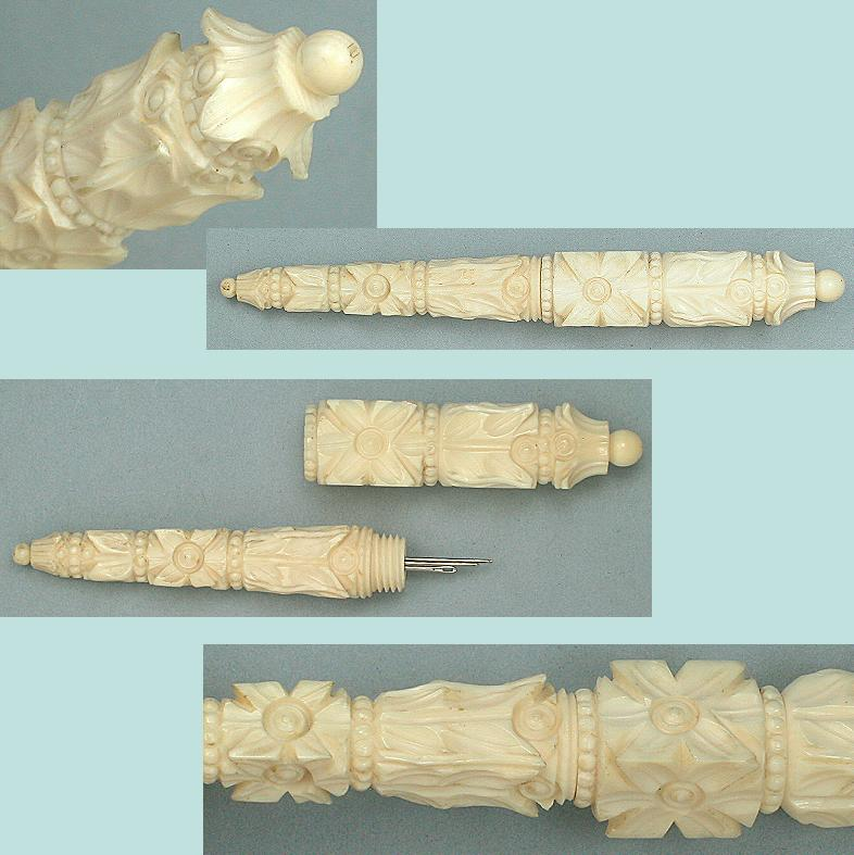 Ornate Antique Carved Ivory Needle Case  * C1820