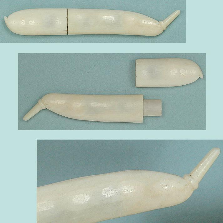 Antique Dieppe Carved Ivory Pea Pod Needle Case * C1820