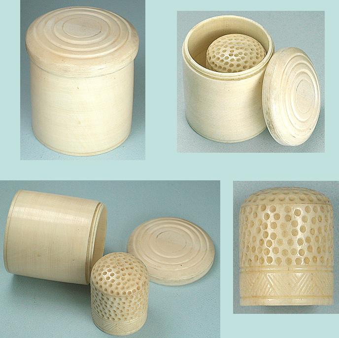 Antique Ivory Box & Thimble * Circa 1840