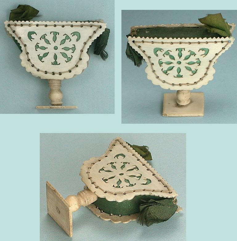 Antique Figural Ivory Fretwork Urn Pin Cushion * C1800