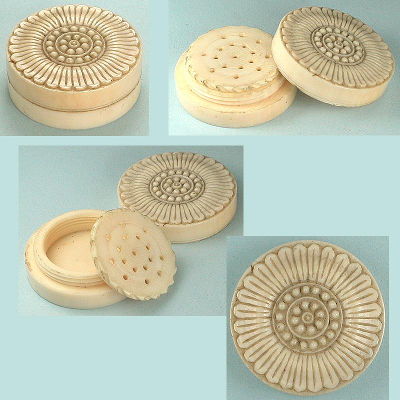 Antique Carved Ivory Flower Vinaigrette * Circa 1830