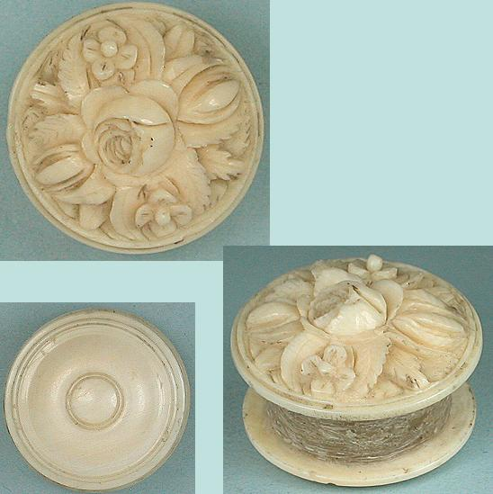 Antique Carved Dieppe Ivory Thread Waxer * C1820