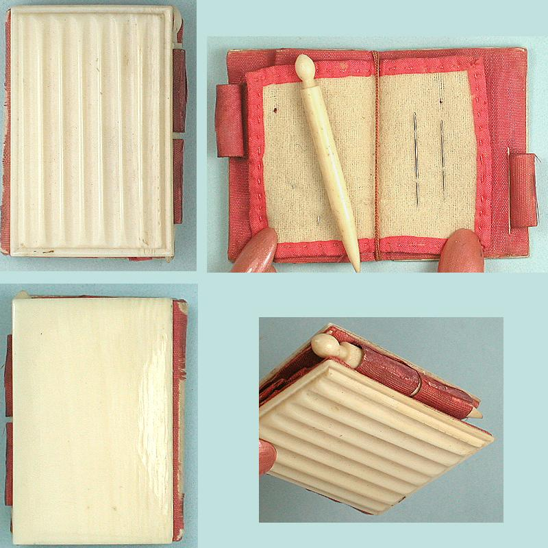 Antique Carved Ivory Needle Book * English *Circa 1830