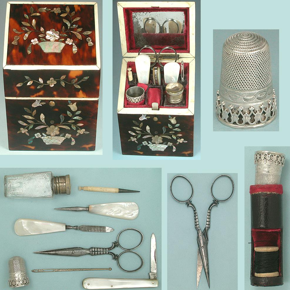 Antique Tortoise Shell Ladies Companion Sewing Set * C1850