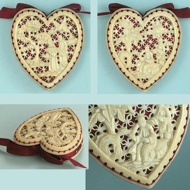 Antique Carved Ivory Heart Shaped Canton Pin Cushion * C1820