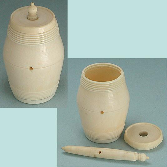 Antique Carved Ivory Workbox Thread Barrel * C1800