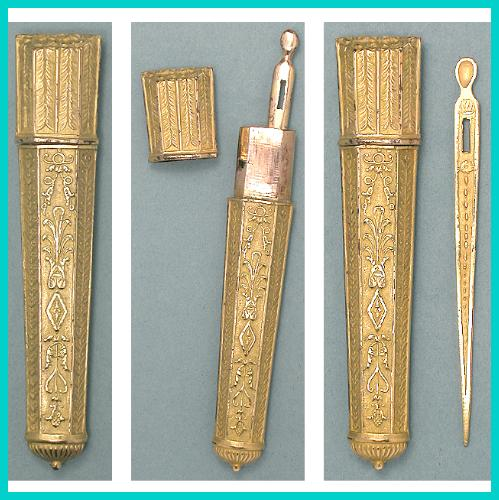 Antique French Figural Pinchbeck Needle Case & Bodkin * C1790