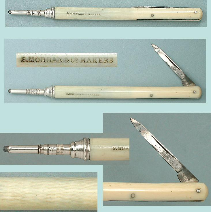 Antique Sliding Ivory Mechanical Pencil / Penknife * Mordan Make