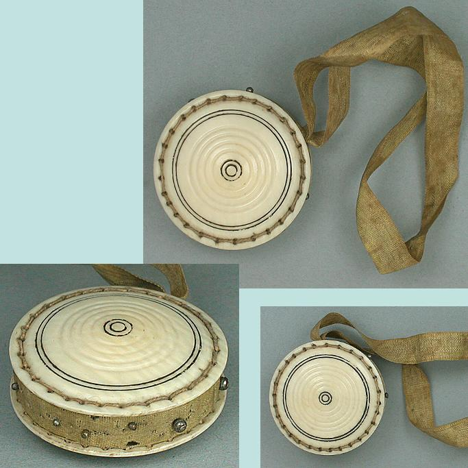 Antique Carved Ivory Pin Cushion / Disc * Circa 1820