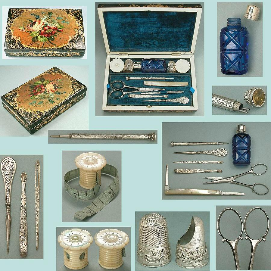 Antique Papier Mache Cased Sterling Silver Sewing Set * C1850