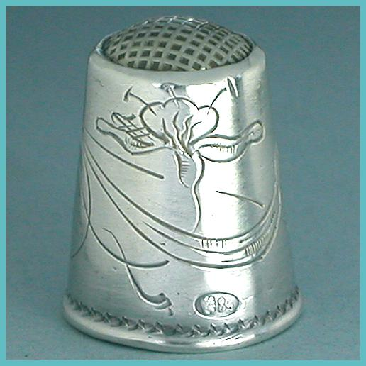 Antique Art Nouveau Russian Silver Thimble * Early 20th Century